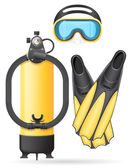 Aqualung mask tube and flippers for diving vector illustration — Stock Vector