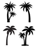 Palm tropical tree set icons black silhouette vector illustratio — Stock Vector