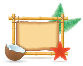 Bamboo frame and coconut vector illustration — Stockvektor