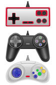 Set icons joysticks obsolete for gaming consoles vector illustra — Stock Vector