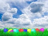 Pasen eieren op een weide — Stockfoto