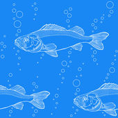 Blue water pattern with fish — Stock Vector