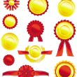 Vector best choice red and golden label with ribbons. - Stock Vector