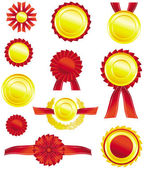 Vector best choice red and golden label with ribbons. — Stock Vector