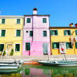 Toylike Burano island houses (Venice) - Stock Photo