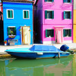 Burano island landscape with colorful houses - Stock Photo
