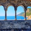 Arch spans of the church of St. Peter in Porto Venere - Stock Photo