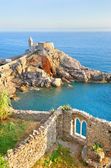 Scenery with the church of St. Peter in Porto Venere — Stock Photo