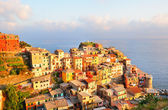 Picturesque sunset in colorful Manarola — Stock Photo