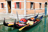 Traditional Venetian landscape with gondolas — Stock Photo