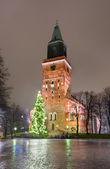 Turku Cathedral and Christmas tree — Stock Photo
