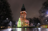 Christmas tree on cathedral square in Turku — Stock Photo