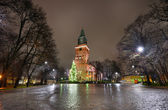 Christmas tree and cathedral in Turku — Stock fotografie