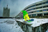 Snowboarding in the city — Стоковое фото