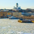 Spring icy sunset landscape of Helsinki — Stock Photo