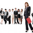 Business woman with her team — Stock Photo #22778948