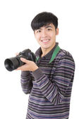 Young amateur photographer — Stock Photo