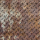 Background of old metal diamond plate in brown color. — Stock Photo
