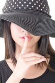 Asian woman saying hush be quiet — Stock Photo