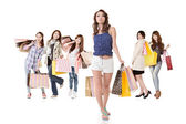 Attractive shopping women walk — Stock Photo