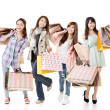 Attractive asian shopping women — Stock Photo