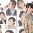Diverse asian business people talking on the phone — Stock Photo