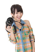 Smiling asian woman with photo camera — Stock Photo