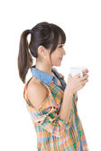 Asian woman with cup of coffee or tea. — Stock Photo