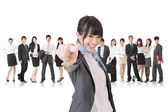 Asian business woman point at the camera — Stock Photo