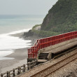 Coastline with railway — Stock Photo