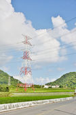 Elektrische leidingen in platteland — Stockfoto