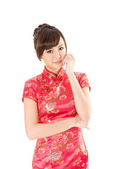 Chinese woman dress traditional cheongsam — Stock Photo