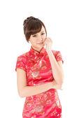 Chinese woman dress traditional cheongsam — Stock Photo
