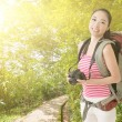 Stock Photo: Smiling traveling Asian girl