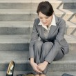 Stock Photo: Sad business womfeel helpless