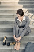 Sad business woman feel helpless — Stock Photo