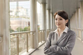 Friendly business woman of Asian with copyspace — Stock Photo