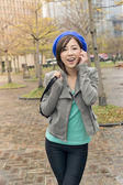 Asian woman walk at street — Stock Photo
