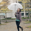 Happy smiling Asian woman holding an umbrella — Stock Photo #40560707
