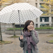 Happy smiling Asian woman holding an umbrella — Stock Photo #40560769