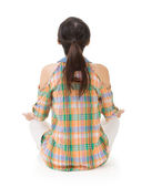Rear view of Asian woman sit — Stock Photo