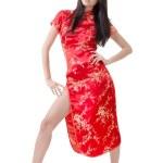 Sexy Chinese woman dress traditional cheongsam — Stock Photo