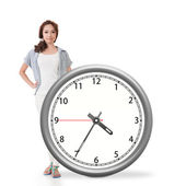 Asian woman push a clock — Stock Photo