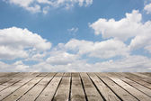 Wooden ground with sky — Stock Photo