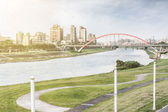 Cityscape with bridge — Stock Photo