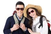 Happy traveling Asian couple — Foto de Stock