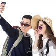 Asian young traveling couple selfie — Photo