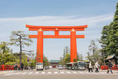 Big red torii in Heian Jingu Shrine — Stock Photo