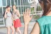 Woman meet her friends — Stock Photo