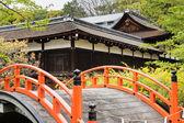 Orange arched bridge of Jshimogamo-jinja — Stock Photo